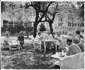 "Photograph of President Truman and other members of his party dining on a picnic lunch on the lawn of the ""Little... - NARA - 200536.jpg"