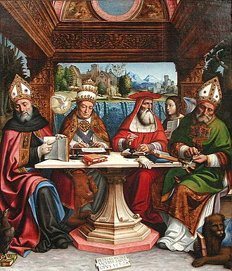 The Four Great Doctors of the Western Church were often depicted in art, here by Pier Francesco Sacchi, c. 1516. From the left: Saint Augustine, Pope Gregory I, Saint Jerome, and Saint Ambrose, with their attributes. Pier Francesco Sacchi - Dottori della Chiesa - ca. 1516.jpg