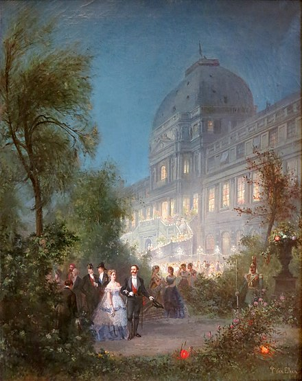 Gala soiree of 10 June 1867, for sovereigns attending the International Exposition of that year, by Pierre Tetar van Elven. The exterior horseshoe staircase, from the garden to the Salle de Marechaux, was temporarily erected for the occasion. PierreTetarVanElvenFeteAuxTuileries10juin1867.JPG