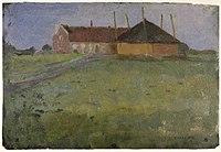 Piet Mondriaan - Farm building with haystack viewed along the horizon - A159 - Piet Mondrian, catalogue raisonné.jpg
