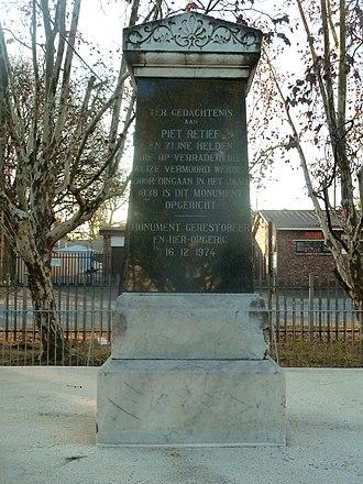 Piet Retief, Mpumalanga - Image: Piet Retief monument by NG kerk, Piet Retief, a
