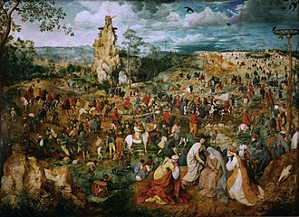 Pieter Bruegel the Elder - The Procession to Calvary, 1564, Bruegel's second largest painting at 124 cm × 170 cm (49 in × 67 in)