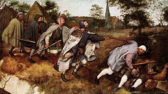 Satire - Pieter Bruegel's 1568 satirical painting The Blind Leading the Blind.
