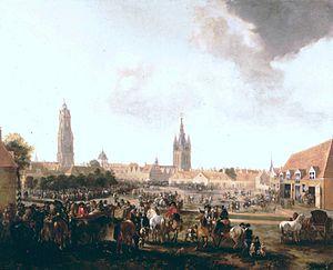 Pieter Wouwerman - View of the horse market in Delft, 1665
