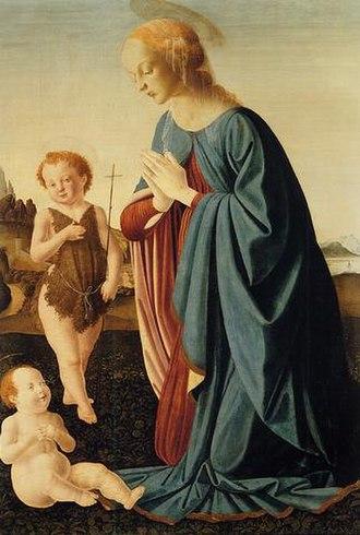 Pietro del Donzello - The Virgin adoring the Child and San Juanito by Pietro del Donzello, 1500