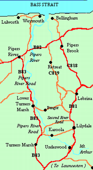 Pipers River - Pipers River area