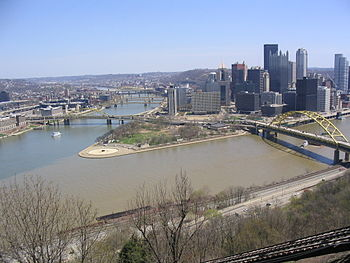 Pittsburgh Point Park from top of Duquesne Incline