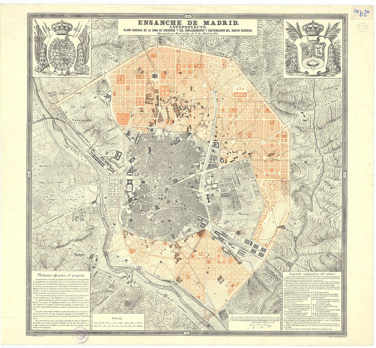 File Plano Del Ensanche De Madrid Carlos María De Castro 1861 Jpg Wikimedia Commons