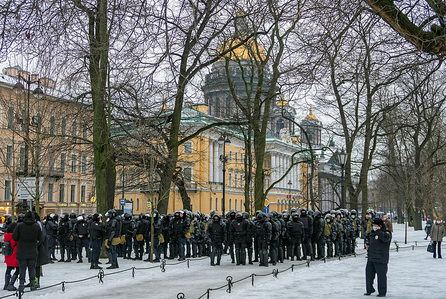 Police forces during Anti-Putin protests. Saint Petersburg, 23 January 2021.jpg