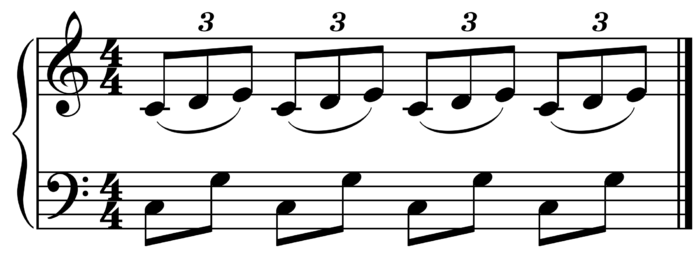 Polyrhythm: Triplets over duplets in all four beats ( Play (help*info) ) Polyrhythm.png