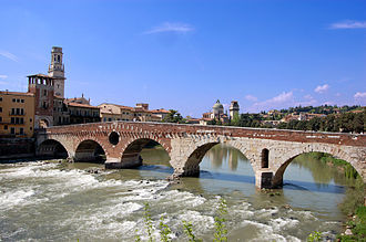 Ponte Pietra (Verona) - The arch at the far left is the only one which escaped destruction in 1945.
