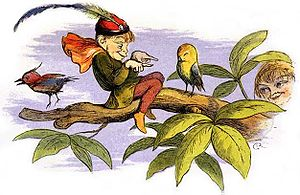 English folklore - Poor little birdie teased, by the 19th-century English illustrator Richard Doyle depicts an elf as imagined in English folktales.