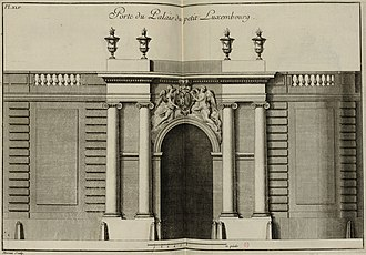 Petit Luxembourg - Image: Porte du Palais du petit Luxembourg Pl 45 Livre d'architecture par G Boffrand INHA (cropped)