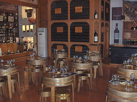 Tasting room of port wine in a wine cellar of a producer