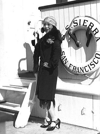 1929 in Australia - Japanese vaudeville performer, singer and comedian Kono San (or Konosan) on board SS Sierra, Sydney 1929.