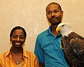Posing for picture with Bald Eagle. (10594505005).jpg