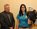 Posing for picture with Bald Eagle. (10596467105).jpg