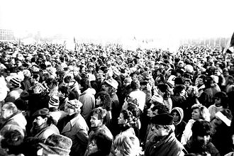 Velvet Revolution - Demonstration of 25 November 1989 in Prague.