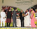 Pranab Mukherjee gave away the Saakshar Bharat awards, at the International Literacy Day celebrations, in New Delhi. The Union Minister of Human Resource Development, Shri M.M. Pallam Raju (2).jpg