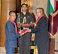 Pranab Mukherjee presenting the Silver Elephant Award 2011-2012 to the Minister of Higher and Technical Education, Nagaland and President, Nagaland State Bharat Scouts & Guide, Dr. Shurhozelie Liezietsu.jpg