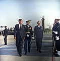President John F. Kennedy and Prime Minister of Great Britain, Harold Macmillan, Inspect Honor Guard Troops.jpg