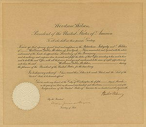 William Gibbs McAdoo - Image: President Woodrow Wilson's Appointment of Treasury Secretary Mc Adoo