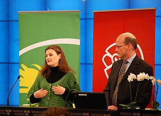 Red-Greens (Sweden) - Mikaela Valtersson (Green) and Thomas Östros (Social Democrat) present the two parties' joint 2009 shadow budget in October 2008. At this stage the Left Party was not yet part of the cooperation.