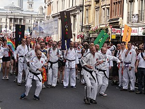 Homosexuality in modern sports - Gay martial artists marching in Pride London 2011.