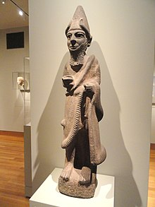 Statue of a Hittite priest-king made from basalt and containing bone eyes