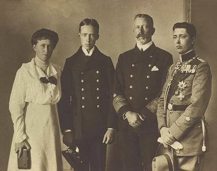 Princess Irene with her husband Prince Heinrich of Prussia and their two surviving sons, Prince Sigismund, left, and Prince Waldemar. Prince Heinrich of Prussia with family.jpg