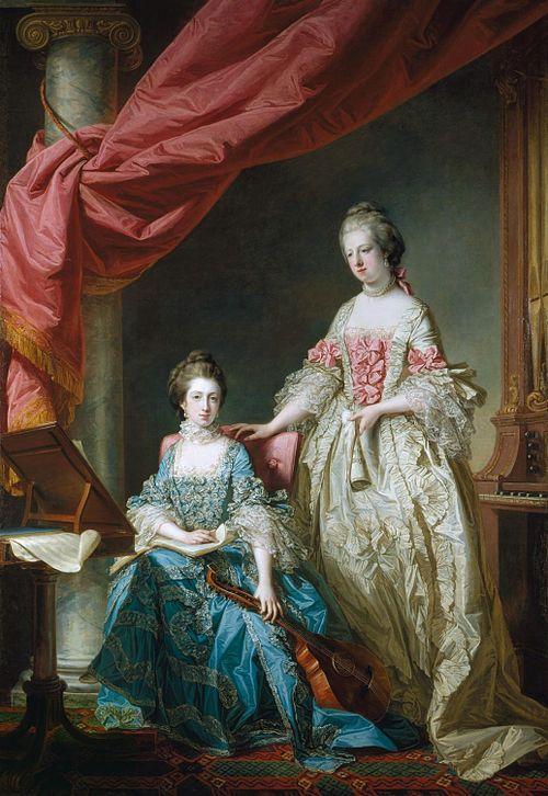 The 16-year-old Queen stands next to her sister, Princess Louisa of Great Britain, by Francis Cotes Princess Louisa and Princess Caroline by Francis Cotes, 1767.jpg