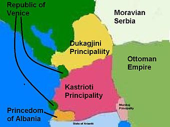 Principality of Dukagjini, Kastrioti and Princedom of Albania in the 15th century.JPG