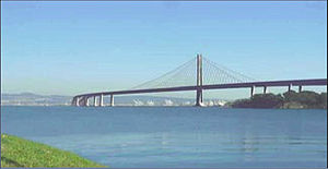 Eastern span replacement of the San Francisco–Oakland Bay Bridge - Artistic rendition of the accepted design as seen from Treasure Island after removal of the original span (ca. 2018)