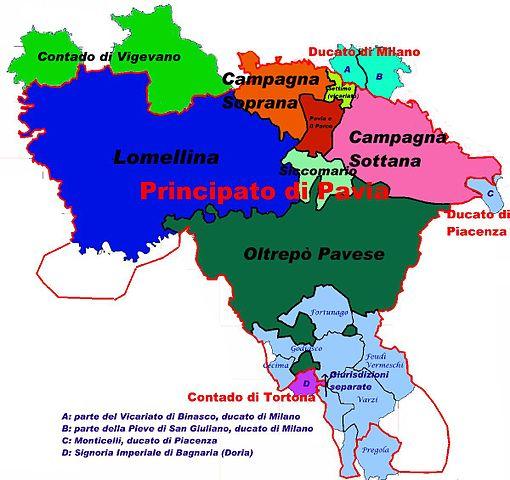 Territori storici della Provincia di Pavia (XVII secolo circa).