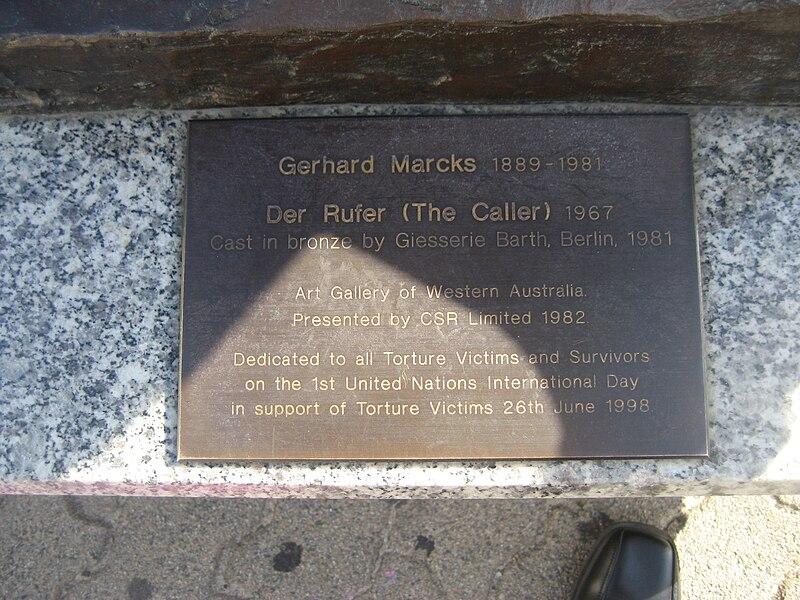 File:Public art - Der Rufer, plaque, Perth Cultural Centre.jpg