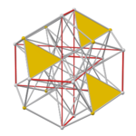 Pyritohedral excavated dodecahedron, face yellow.png