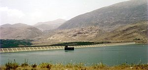 Lake Qaraoun -  Full view of El Wauroun Dam and Lake Qaraoun.