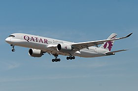 Qatar Airways A350-941 (A7-ALA) landing at Frankfurt Airport.jpg