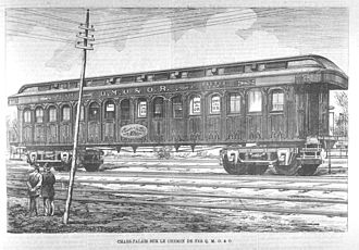 Quebec, Montreal, Ottawa and Occidental Railway - Quebec, Montreal, Ottawa and Occidental Railway palace car, engraving circa 1879.