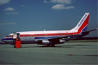 Quebecair - Boeing 737-200 at Wabush Airport in 1985.