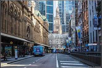 Queen Victoria Building - The Queen Victoria Building side entrance from York Street. The Sydney Town Hall is visible at the further end, undergoing maintenance
