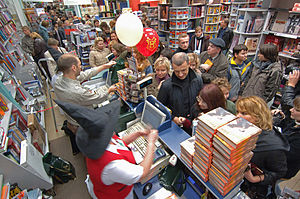 "Harry Potter and the Deathly Hallows - The Russian translation of the seventh book—""Harry Potter and the Gift of Death""—went on sale at the bookstore Moskva in Moscow on 13 October 2007"