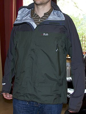 Rab (company) - A Rab rain jacket