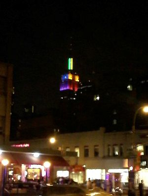 Marriage Equality Act (New York) - The Empire State Building lit in rainbow colors following the passage of the Marriage Equality Act.