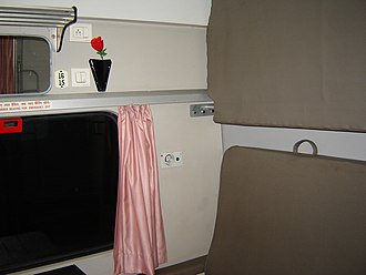 Indian Railways - Interior of a first-class compartment on the Rajdhani Express
