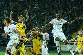 Ukrainian Premier League - Areal duel between players of Shakhtar and Metalist in September of 2009 including Fernandinho and Marko Devic