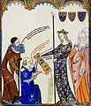 Ramon Llull, with his disciple Thomas le Myesier, presenting three anthologies to Queen of France and Navarre.jpg