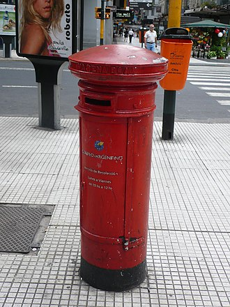 Correo Argentino - Post box with the logo of Correo Argentino in Buenos Aires, 2008.