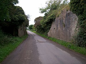 NI Railways - Remains of an old railway bridge, Ballybrannon Road, Armagh awaiting reconstruction.