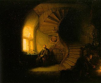 Philosopher in Meditation - Philosopher in Meditation (or Interior with Tobit and Anna) by Rembrandt